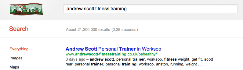 Andrew Scott Fitness training website online under a week and in google